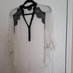 White with black lace trim
